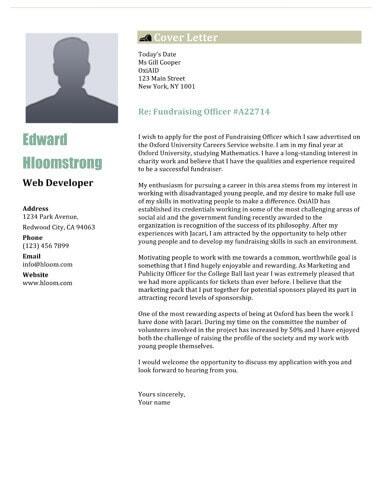 Net Profile cover letter