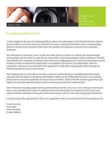 Personal Endorsements cover letter