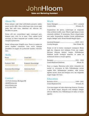 Plantilla de CV de información personal