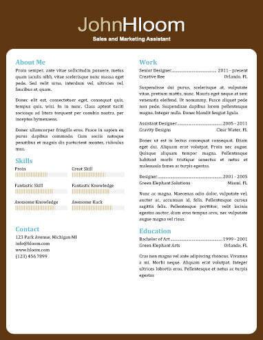 resume templates marketing