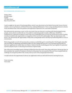 Award Winning cover letter