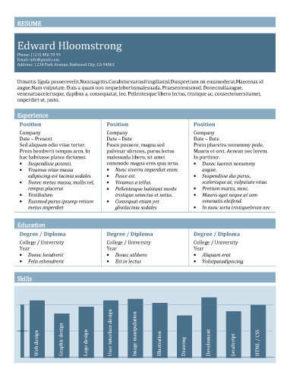 Modello di curriculum con grafico a barre