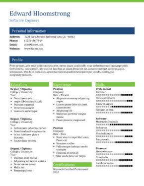 Modello di curriculum Pagina intera
