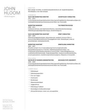 Modèle de CV Texte linéaire