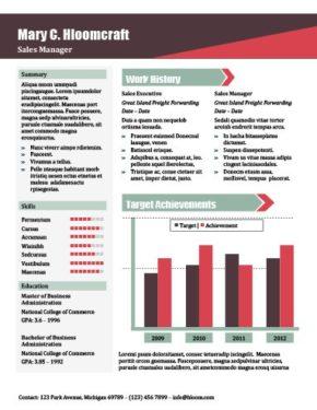 Modello di curriculum con report sulle vendite