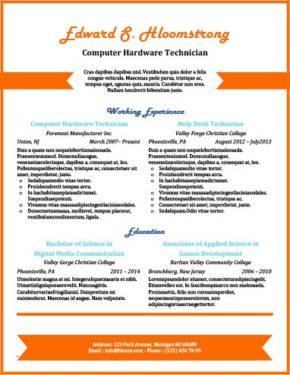 Orange Chevron Resume Template