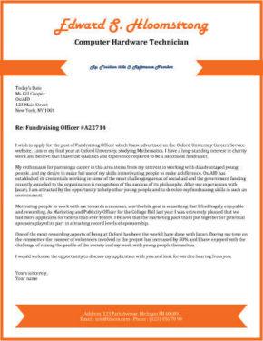 Orange Chevron cover letter