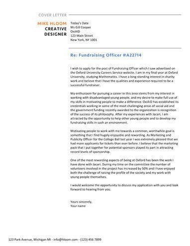 Offset cover letter