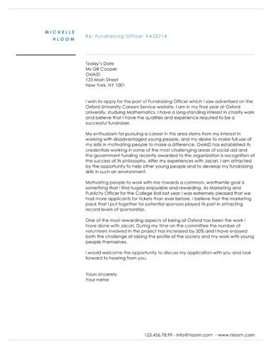 Aristocratic cover letter