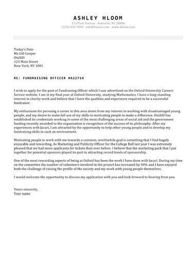 Seasoned cover letter