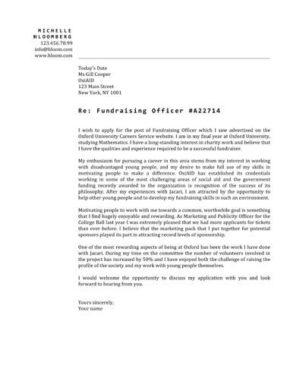 cover letter fundraising