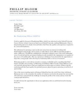 Exemplar cover letter