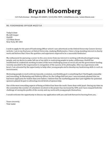 Bulletin cover letter