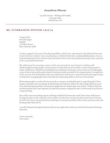 Ivy League cover letter
