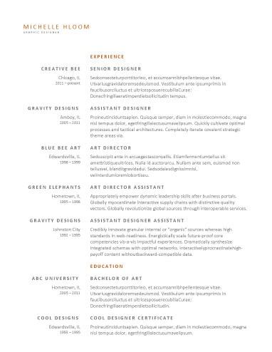 Upfront OpenOffice Resume
