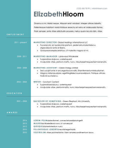 Free modern resume templates download