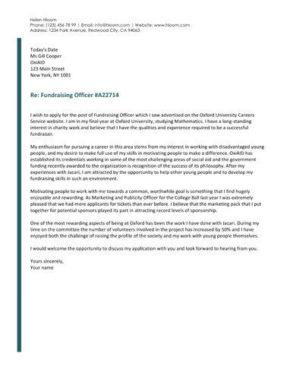 Streamlined cover letter