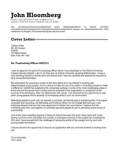Font Appeal cover letter