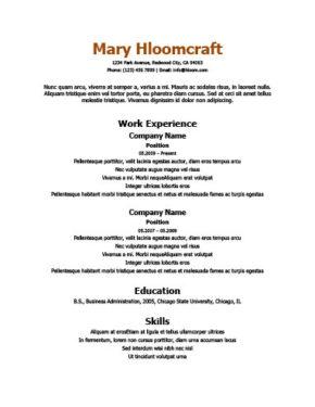 Core Skills Resume Template