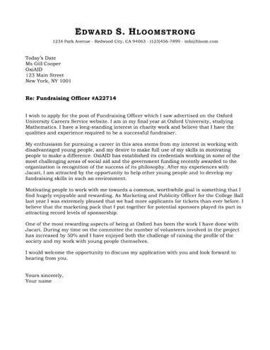 Rising Career cover letter