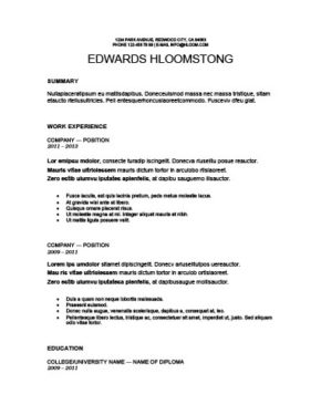 Strong Showing Resume Template