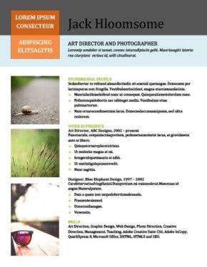 Plantilla de CV creativa con columnas e imágenes