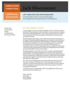 Creative Picture Column cover letter