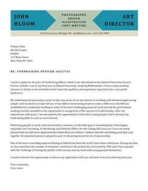 Block Colour cover letter