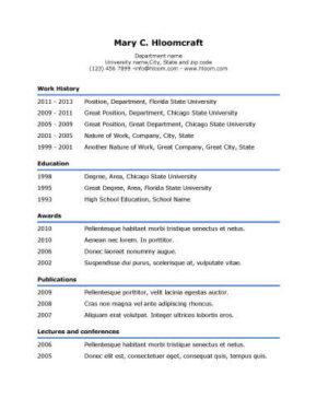 Simple Underline Resume Template