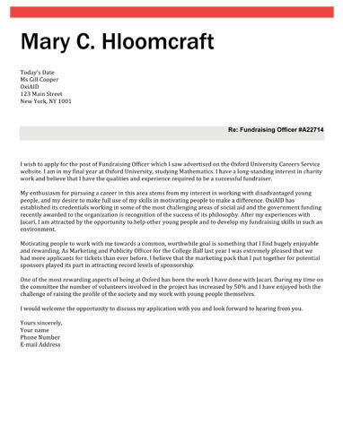 Framed cover letter
