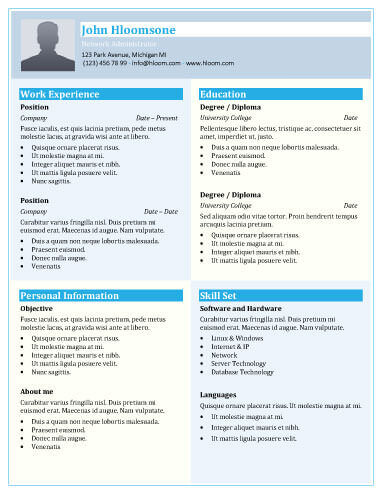Shades Of Blue Resume Template