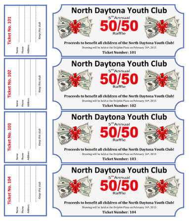 50-50 Cash Raffle Ticket Template for Youth Club