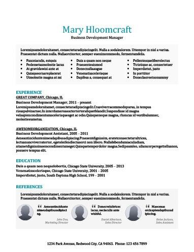 testimonials resume template - Business Resume Template