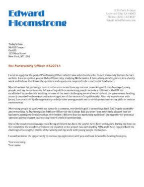 Career Starter cover letter