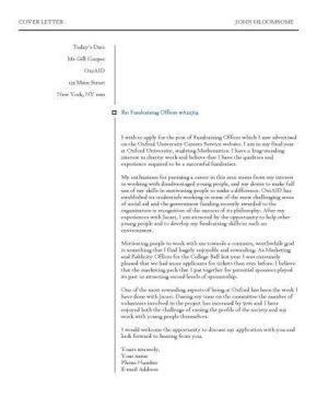 Check Box cover letter