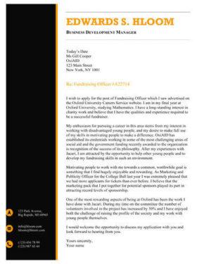 Black and Orange cover letter