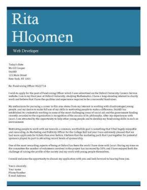 Big Bold Header cover letter