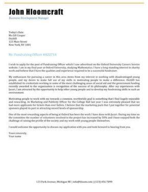 Blogging cover letter