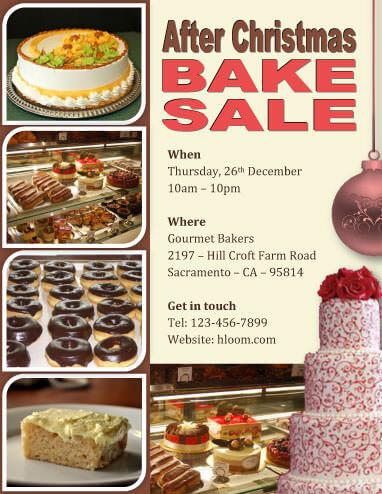 After Christmas Bake Sale christmas flyer template