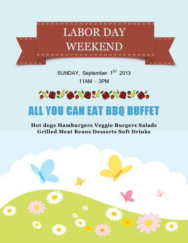 All you can eat buffet Labor Day Flyer