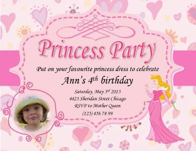 Ann Princess Party Invite