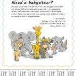 Babysitting flyer with animals