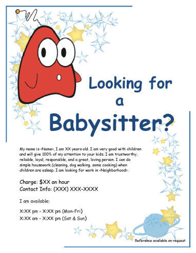 babysitting flyer with funny creature - Daycare Advertising Examples