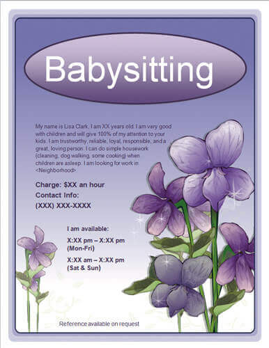 Babysitting flyer with purple flowers