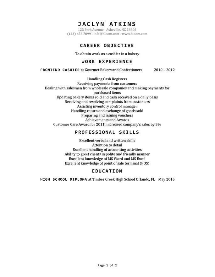 Cashier Resume How To Write   Examples