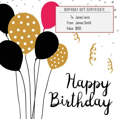 baloons birthday gift certificate - Happy Birthday Gift Card