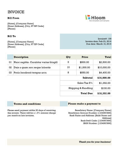 Banner Blocks Invoice Template Excel