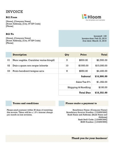 Blank Invoice Templates Microsoft Word - Making an invoice in excel big and tall stores online
