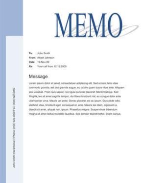 Big title blue sidebar free memo template