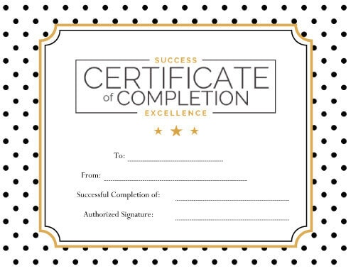 blank excellence certificate of completion
